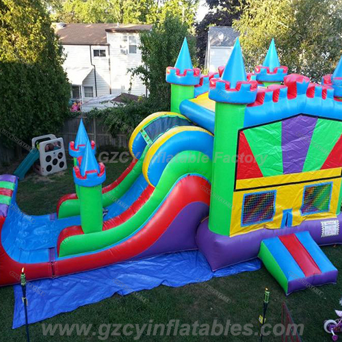 3 em 1 Bounce House Colorful Castle Combo Dry